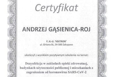 Informacja 1 certyfikat Vektron